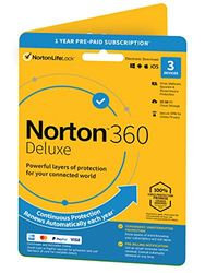 Norton 360 Deluxe 2020, Antivirus software for 3 Devices and 1-year subscription with automatic renewal, Includes Secure VPN and Password Manager|Deluxe|1|1 Year|PC|Download