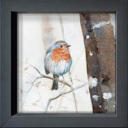 International Graphics - Postal enmarcada - Julie, Wintz-Litty - ''Rouge-gorge''- 16 x 16 cm - Marco disponible en 4 colores - Color del marco: Antracita - Serie LUNA