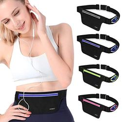 ANMRY Schmaler Laufgürtel, Sport-Gürtel, wasserabweisend, verstellbare Lauftasche mit Reißverschluss für iPhone 11 Pro Max 25,4 x 20,3 x 17,8 cm, Laufen, Fitnessstudio, Marathon, Radfahren, blau (Blau) - ANMRY