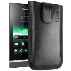 mumbi Echt leren hoesje compatibel met Sony Xperia U hoes leren tas case portefeuille, zwart
