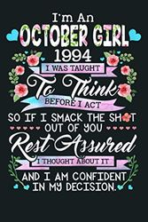 Awesome Since 1994 26Th Birthday I M A October Girl 1994: Notebook Planner - 6x9 inch Daily Planner Journal, To Do List Notebook, Daily Organizer, 114 Pages