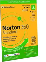 Norton 360 Standard 2021, antivirussoftware, internetbeveiliging, 1 Apparaat, 1 Jaar abonnement met automatische verlenging, Secure VPN en Password Manager, PC, Mac, tablet of smartphone
