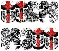 Nagelaufkleber, Totenkopf-Motiv, Totenkopf-Motiv, Gothic, Rockabilly, Nagelaufkleber, Nagelaufkleber, Nagelkunst, Nagelkunst, Schwarz / Rot / Weiß