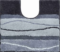Grund Badmat, Ultrazacht en absorberend, Antislip, 5 jaar garantie, ORLY, WC-sjabloon w.A. 50x60 cm, antraciet