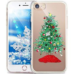 iPhone 8 Plus Hülle,iPhone 7 Plus Hülle,ikasus® TPU Silikon Hülle Schutz Handy Hülle - Grün Weihnachtsbaum