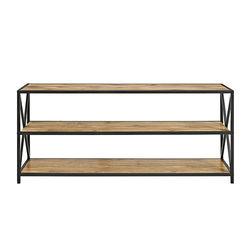 Walker Edison - Industrial Metal and Wood 3-Shelf Bookcase - Barnwood