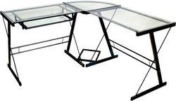 Walker Edison - Modern L-Shaped Tempered Glass Computer Desk - Clear/Black