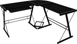 Walker Edison - Modern L-Shaped Tempered Glass Computer Desk - Black