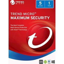 Trend Micro Maximum Security (5-Devices) (1-Year Subscription) - Android, Mac, Windows, iOS