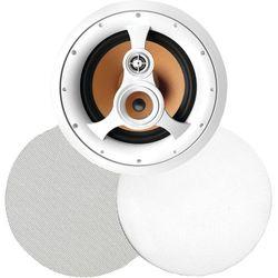"""BIC America - 250-Watt 3-Way 10"""" In-Ceiling Speaker with Pivoting Tweeter & Midrange Plus Metal & Cloth Grilles - White"""