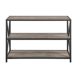 Walker Edison - Industrial Metal and Wood 3-Shelf Bookcase - Grey Wash