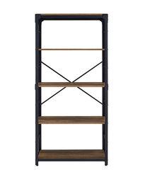Walker Edison - Industrial Wood 4-Shelf Bookcase - Rustic Oak