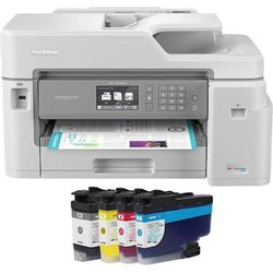 Brother - INKvestment Tank MFC-J5845DW Wireless All-in-One Inkjet Printer with Up to 1-Year of Ink In-box - White/Gray