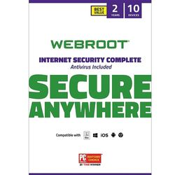 Webroot - Complete Internet Security + Antivirus Protection – Software (10 Devices) (2-Year Subscription) - Mac, Windows