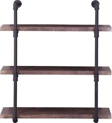 Noble House - Cadott Industrial Faux Wood and Steel Wall Shelf - Dark Brown