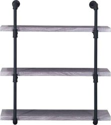 Noble House - Cadott Industrial Faux Wood and Steel Wall Shelf - Light Gray
