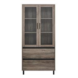 Walker Edison - 2-Drawer Storage Armoire Bookcase Cabinet - Gray Wash