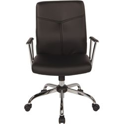 OSP Home Furnishings - FL Series 5-Pointed Star Faux Leather Office Chair - Black