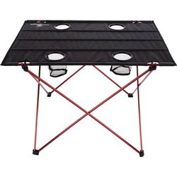 Wakeman - Camp Table-Outdoor Folding Table with 4 Cupholders and Carrying Bag - Black