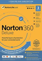 NortonLifeLock - 360 Deluxe (3-Device) (1-Year Subscription with Auto Renewal)