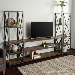 Walker Edison - 3-Piece Industrial Bookcase Set - Rustic Oak