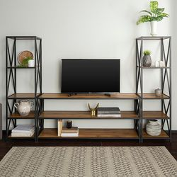 Walker Edison - 3-Piece Industrial Bookcase Set - Barnwood