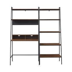 Walker Edison - 2 piece Metal & Wood Ladder Desk and Shelf - Dark Walnut