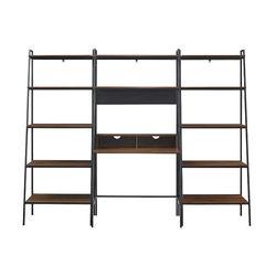 Walker Edison - Arlo 3-Piece Metal and Wood Ladder Desk and Shelf Set - Dark Walnut