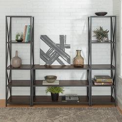 Walker Edison - 3-Piece Rustic Industrial Bookcase Set - Dark Walnut