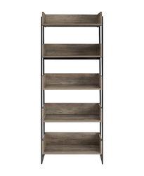 """Walker Edison - Morty 64"""" Metal and Wood 5 Shelf Bookshelf - Grey Wash"""