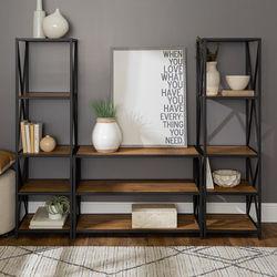Walker Edison - 3-Piece Rustic Industrial Bookcase Set - Barnwood