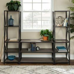 Walker Edison - 3-Piece Rustic Industrial Bookcase Set - Driftwood