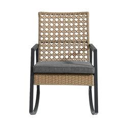 Walker Edison - Modern Wicker Deep Seated Rocking Chair - Beige Grey