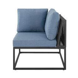 Walker Edison - Modern Rockland Linen Wrap Patio Corner Chair - Blue