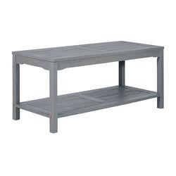 Walker Edison - Cypress Acacia Wood Outdoor Coffee Table - Grey Wash