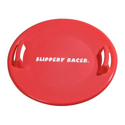 Slippery Racer - Downhill Pro Adults and Kids Plastic Saucer Disc Snow Sled - Red