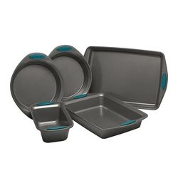 Rachael Ray - Yum-o! Oven Lovin' 5-Piece Nonstick Bakeware Pan Set - Gray with Marine Blue Handles