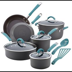Rachael Ray - Cucina 12-Piece Cookware Set - Gray with Blue Handles