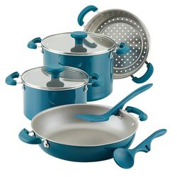 Rachael Ray - Create Delicious 8-Piece Cookware Set - Teal Shimmer