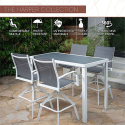Mod Furniture - Harper 5-Piece Outdoor High-Dining Set with 4 Swivel Bar Chairs and a Glass-Top Bar Table - White