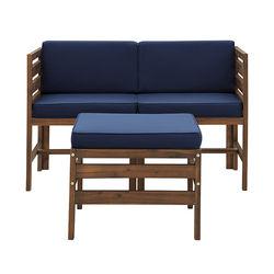 Walker Edison - Contemporary 3 Piece Modular Solid Wood Patio Set - Dark brown/navy