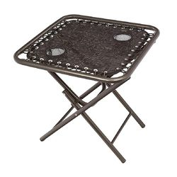 Bliss - Foldable Sling Table w/ 2 cup holders - Brown Jacquard