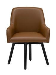 Studio Designs - Spire Luxe Swivel Office Chair- Caramel - Caramel Brown Blended Leather / Black Metal Legs