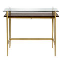"""Camden&Wells - Eaton 36"""" Brass Desk with Walnut Shelf - Brass/Walnut"""