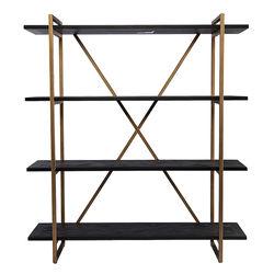 Southern Enterprises - SEI Dessingham Reclaimed Wood Bookshelf - Black reclaimed wood w/ gold finish