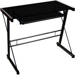 Walker Edison - Modern Glass Computer Desk - Black