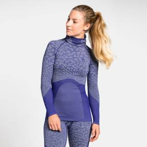 Odlo Damen BLACKCOMB Funktionsunterwäsche Langarm-Shirt mit Gesichtsmaske, female, clematis blue - tradewinds - clematis blue, XS