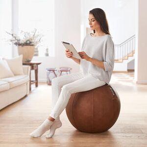 Stryve Active Balance Ball Lederstoff, natural brown, 65 cm