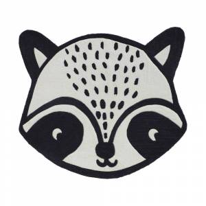 Maisons du Monde Alfombra de mapache de tufting blanco y negro 100x90