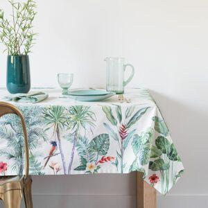 Maisons du Monde Mantel de algodón blanco con estampado de motivos vegetales 150x250